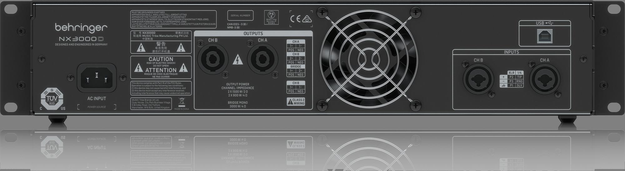 BEHRINGER NX3000D cyfrowy wzmacniacz 3000W DSP USB