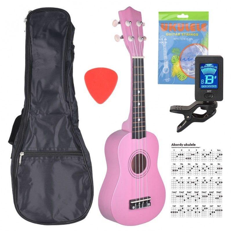 NN UK 01 PINK ukulele sopranowe różowe pokrowiec