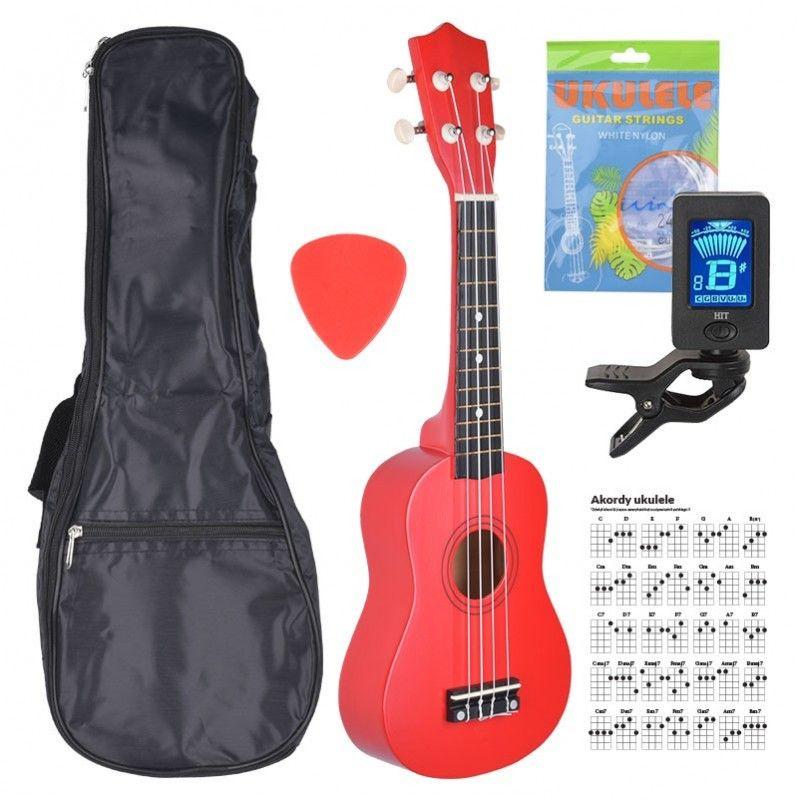 NN UK 01 RED ukulele sopranowe czerwone pokrowiec