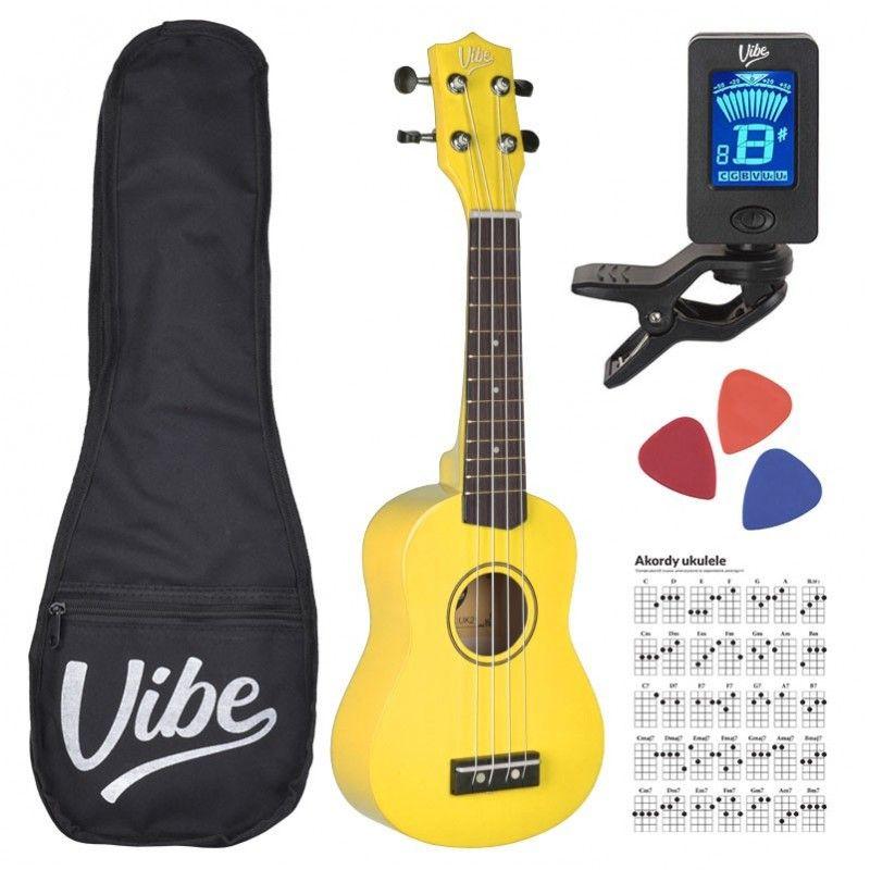 VIBE UK21 zestaw ukulele sopranowe żółte YELLOW