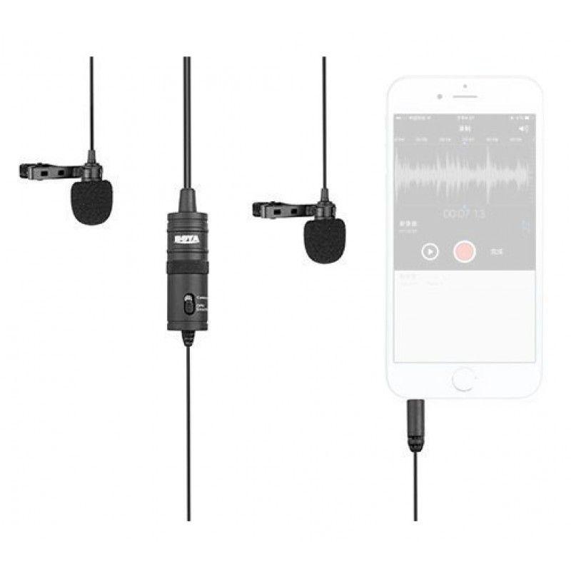 BOYA BY-M1DM podwójny mikrofon krawatowy lawalier