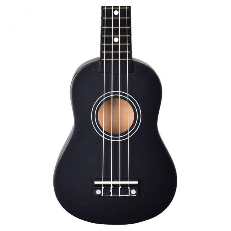 NN UK 01 BLACK ukulele sopranowe czarne pokrowiec