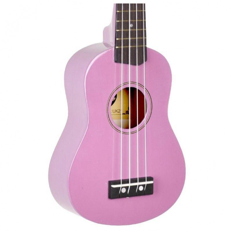 VIBE UK21 zestaw ukulele sopranowe różowe PINK