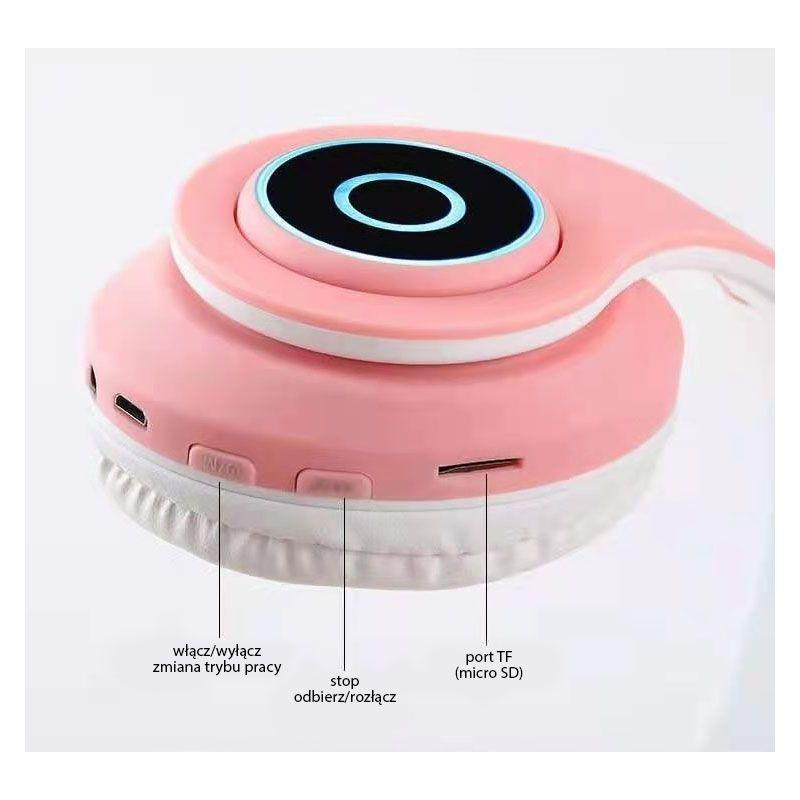 NN B39CE PK słuchawki uszy kota Bluetooth TF LED