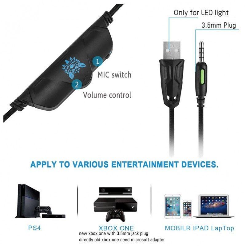 ONIKUMA K5 słuchawki gamingowe dla graczy BLUE LED
