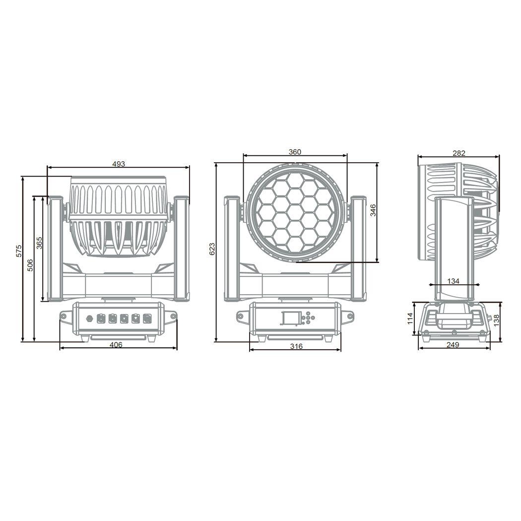 EVOLIGHTS IQ 1940Z IP ruchoma głowa LED beam wash